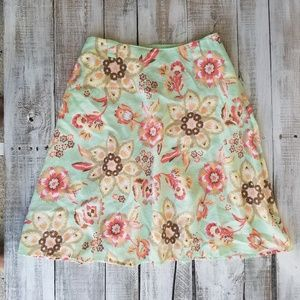 J.Jill Women skirts size MP Petite green floral pr